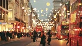 wróżka : LONDON, UK - NOVEMBER 23, 2015: Oxford street with Christmas lights and traffic. It is one of the busiest street of the capital city of England, and during Christmas time it becomes magic and fairy. Wideo