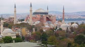 religijne : Aerial view of Hagia Sophia in Istanbul. Panoramic view of the city with a very famous attraction for tourism and religion. On background there are Bosphorus strait and Asian side of the city.