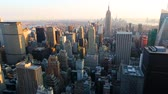 imparatorluk : NEW YORK, USA - AUGUST 26, 2014: Panoramic view of Manhattan and the Empire State building at sunset. Pan right camera movement
