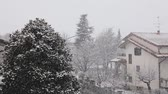 деревня : Snow falling in town. Residential area with houses and roads covered by snow. Cold filter applied for the mood. Winter and weather concepts.