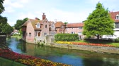 стена : View of typical houses and buildings in Canterbury, England. Flowers and trees along the canal in summer. Postcard image on a sunny day. Architecture, nature and travel concepts. Стоковые видеозаписи