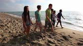 embraced : Multiracial group of friends walking at beach. Mixed race people holding hands and walking on the sand. Summer and travel concepts.