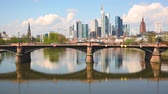 alemão : Panoramic view of Frankfurt and Main river. Frankfurt skyline with skyscrapers and towers on a sunny day. Travel and architecture concepts