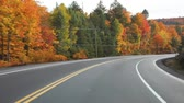 caminho : Driving on the American highway with trees around in autumn. Empty road in Ontario, Canada, with colorful maple trees during the fall season. Travel and transportation concepts