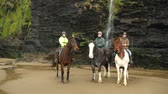 koń : People with horses on the beach. Three people resting and talking after riding horses. Cold day in spring or autumn with rain. Sport and travel concepts