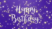 diamante : Purple Happy Birthday greeting card video animation with handwritten text and falling sparkly particles.