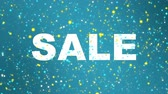 teal : Animated sparkling blue sale sign with colorful particles.