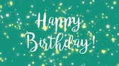 cerceta : Fun green blue teal Happy Birthday greeting card with falling sparkly particles.