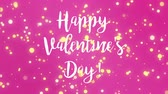 konfeti : Romantic animated pink Valentines Day greeting card with handwritten text and falling yellow light particles. Stok Video
