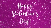 san valentin corazones : Animated sparkly magenta pink Happy Valentines Day greeting card animation with handwritten text and colorful glitter particles.
