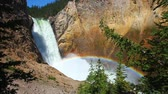parkosított : Sunlight creates a rainbow in mists of the Lower Falls of the Yellowstone River in Wyoming Stock mozgókép