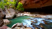 Giant boulders in the Narrows of Zion Canyon in Utah Stock Footage