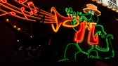 Las Vegas, USA - November 30, 2011: Musical Alligator Sign at the main entrance to The Orleans Hotel and Casino on Tropicana Avenue in Las Vegas. Stock Footage