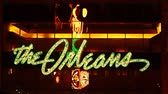 Las Vegas, USA - November 30, 2011: The lights of The Orleans Hotel and Casino Sign above the main entrance showcase the Mardi Gras theme of the property.  The Orleans was opened in Las Vegas, Nevada in the year 1996. Stock Footage