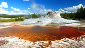 Hot spring below Castle Geyser at Yellowstone National Park Stock Footage