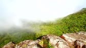 Cloud covered rainforest peaks of El Yunque National Forest in Puerto Rico Stock Footage