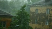 storm : Hard rain with wind in city