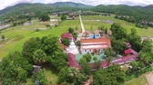 Aerial shot rice field with temple view 影像素材