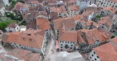 eski şehir : Flight over the town of Kotor. Aerial view of Old Town Kotor Stok Video