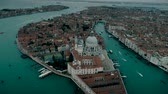 marco : Aerial view of Basilica di Santa Maria della Salute and Grand Canal in Venice Stock Footage