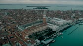 marco : Aerial view of Venice panoramic landmark, aerial view of Piazza San Marco or st Mark square, Campanile and Ducale or Doge Palace. Italy, Europe. Drone view. Stock Footage