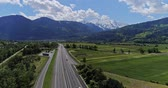aerophotography : Highway traffic of car and trucks aerial drone 4K video