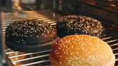 sesame seed : Hot burger rolls with seeds are baked in the oven in 4k resolution in slow motion Stock Footage