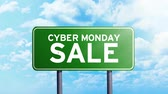 online : Cyber Monday Sale. Timelapse footage of Cyber Monday Sale text on the road sign