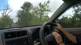 Video footage of young woman hands driving a car on countryside road Vidéos Libres De Droits
