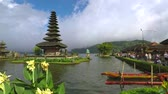 Exotic landscape footage of Ulun Danu Bratan Temple with cloudy sky in Tabanan, Bali, Indonesia.