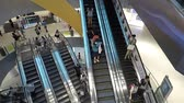 Singapore. October 30, 2017: Timelapse footage of crowded visitors on the escalator inside the VivoCity Shopping Mall in Singapore