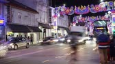 Singapore - November 27, 2017: Timelapse footage of Little India Singapore with colorful lights for Deepavali decorations. Shot in 4k resolution