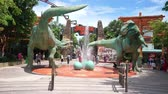 Singapore - November 28, 2017: Video footage of Jurassic Park theme in Universal Studios Singapore at Sentosa Island