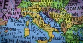 cartography : JAKARTA - Indonesia. February 14, 2018: Closeup of a globe with Italy country. Italy is a country in Southern Europe with a long Mediterranean coastline. Shot in 4k resolution Stock Footage