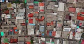 bando : Drone view of crowded slum fishermen houses with small roads near Sunda Kelapa harbor at North Jakarta, Indonesia. Shot in 4k resolution