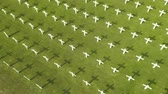 veterán : Aerial landscape of Dutch war graveyard with crosses and green grass at Ereveld Menteng Pulo in Jakarta, Indonesia. Shot in 4k resolution