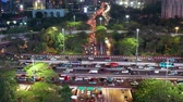 JAKARTA, Indonesia - November 06, 2018: Aerial view of Semanggi highway interchange with traffic jam on rush hour at night. Shot in 4k resolution