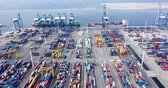 good time : JAKARTA, Indonesia - November 28, 2018: Hyperlapse of Tanjung Priok industrial port with container, truck, crane, and cargo ship. Shot in 4k resolution Stock Footage