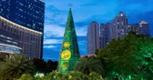 クリスマスタイム : JAKARTA, Indonesia - January 04, 2019: Beautiful time lapse of Christmas tree with lights outdoors at dusk in Jakarta city. Shot in 4k resolution 動画素材