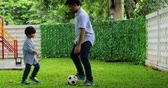 chutando : Young father playing soccer ball with his son son the garden. Shot in 4k resolution Stock Footage