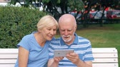 Senior couple having great time sitting on bench in park chatting relaxing, browsing in smartphone. Happy family enjoying summer vacation outdoors. Hand-held camera Stock Footage