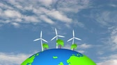 vento : motion graphics wind turbine. energy farm electricity sustainable nature clean renewable station wind global clean. Natural energy. Sky background with Cloud