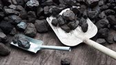 custo : Shovel and coal. A pile of brown coal with a shovel, lignite storage.