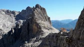 dolomiti : Mountain peaks in the Dolomites Alps. Beautiful nature of Italy. Chalet Pedrotti. Stock Footage