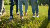 voluntário : Close up of adult and children legs promenading on grass