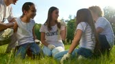 voluntário : Millennial volunteers sitting on grass and joking with kids