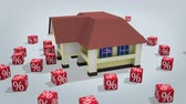 mortgage crisis : House  with percentage symbols rotating on white. 3d rendered conceptual video. Stock Footage