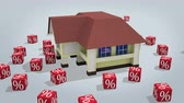 mortgage crisis : House with percentage symbols rotating on white. 3d rendered conceptual video.