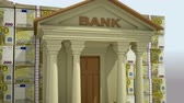 pack : Bank building with euro banknotes. 3D rendering.