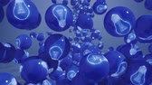 wynalazek : Falling balls with light bubs icons. Symbol of new idea. Wideo